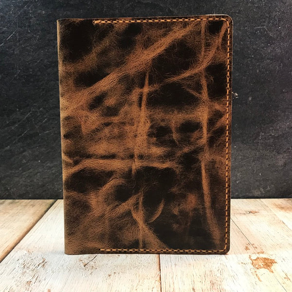 A5 Notebook Cover in Jungle Brown with Colonial Tan Thread