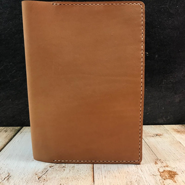 A5 Notebook Cover in Natural Essex with Beige Thread