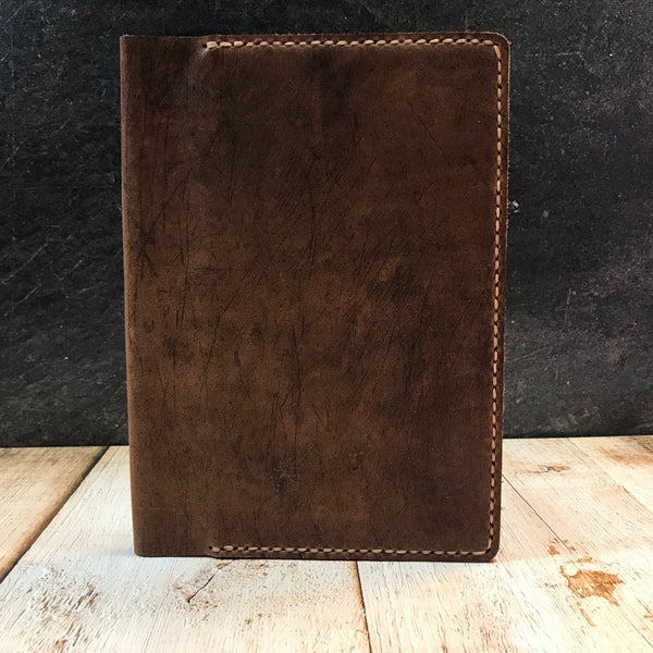 A5 Notebook Cover in Brown Vintage Horse Front with Beige Thread