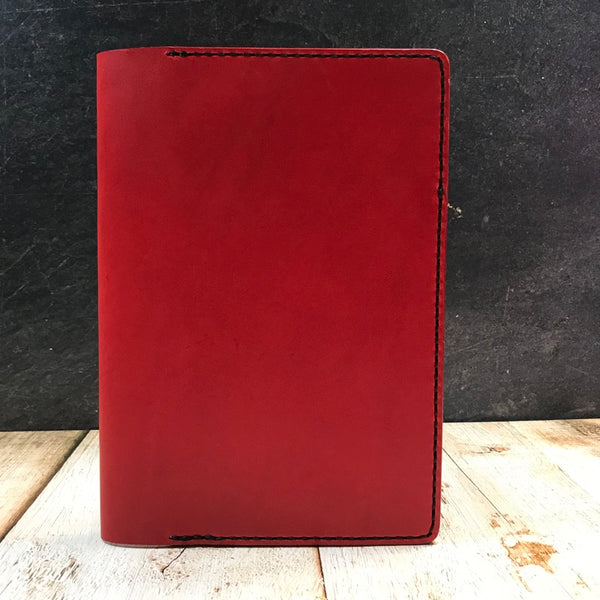 A5 Notebook Cover in Red and Black Buttero with Black Thread