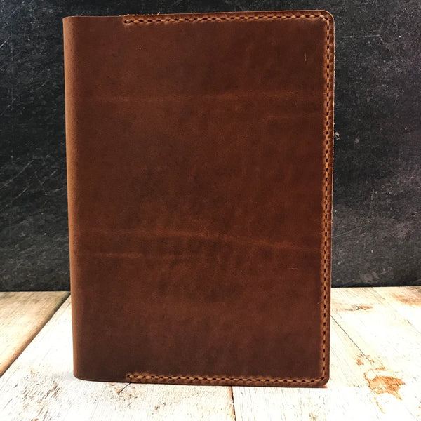 A5 Notebook Cover in English Tan Dublin with Colonial Tan Thread