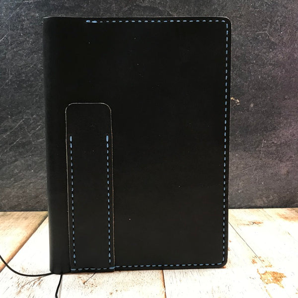 A5 Notebook Cover in Black CXL with Light Blue Thread
