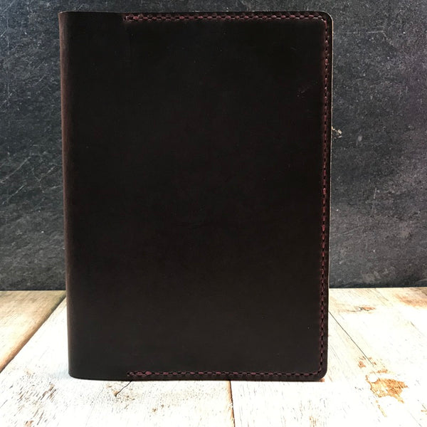 A5 Notebook Cover in Brown CXL with Bordeaux Thread