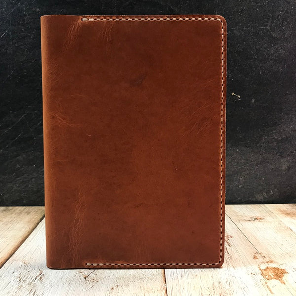 A5 Notebook Cover in Natural Dublin with Beige Thread