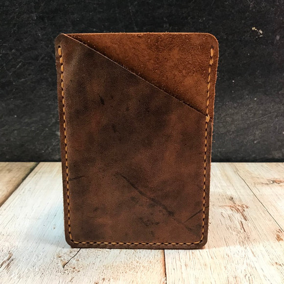 Pocket Notebook Sleeve in Brown VHF with Colonial Tan Thread