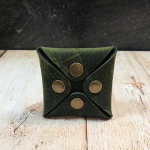 Square Coin Pouch in Green Oil Tan with Brass Hardware
