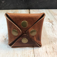 Square Coin Pouch in Natural Dublin with Brass Hardware