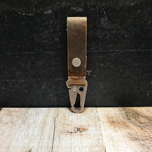 HK Clip Belt Keeper - Broken Oak Crazy Horse with Matte Nickel
