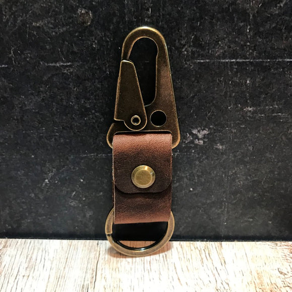 HK Clip Keychain - Nut Brown Dublin with Antique Brass Hardware
