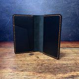 Pocket Notebook Cover in Black Dublin with Orange Thread