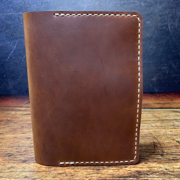 A6 Notebook Cover in Whiskey Oil Tan with Beige Thread