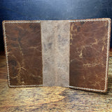 A6 Notebook Cover in Brown Waxed Horsefront with beige Thread