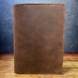 A5 Notebook Cover in Dakota Mahogany Oil Tan with Havana Cigar Thread