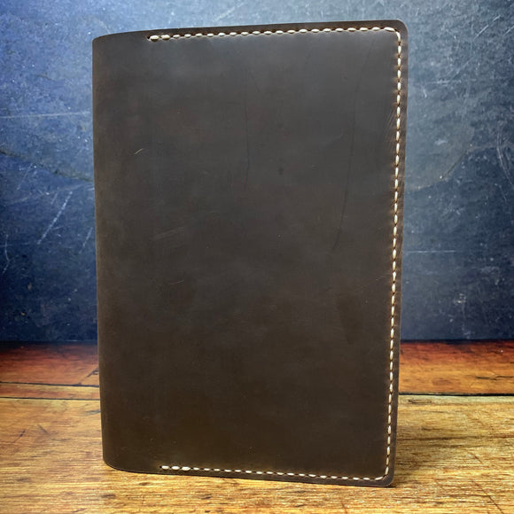 A5 Notebook Cover in Sable Oil Tan with Beige Thread