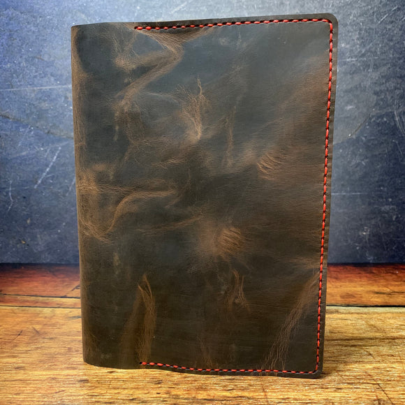 A5 Notebook Cover in Blackjack Crazyhorse with Red Thread