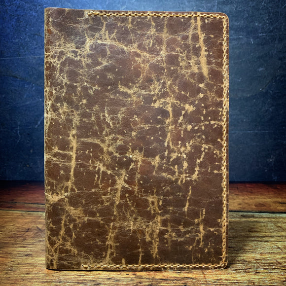 A5 Notebook Cover in Heavy Waxed Brown Vintage Horsefront with Colonial Tan Thread