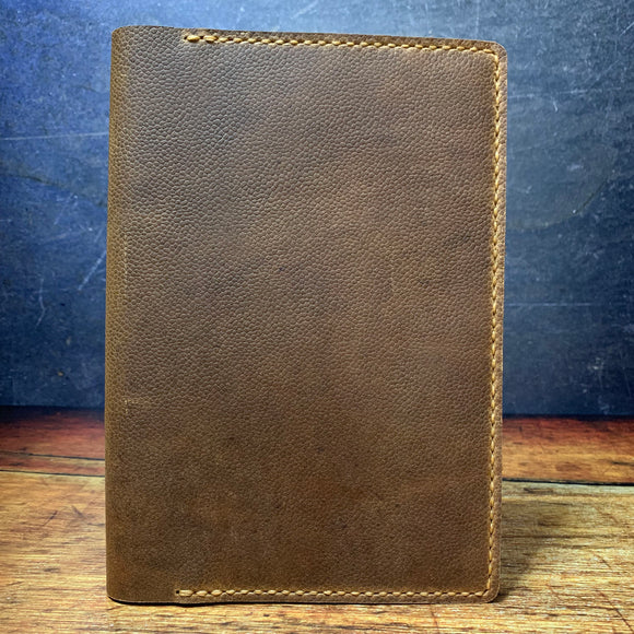 A5 Notebook Cover in Scotch Grain with Colonial Tan Thread