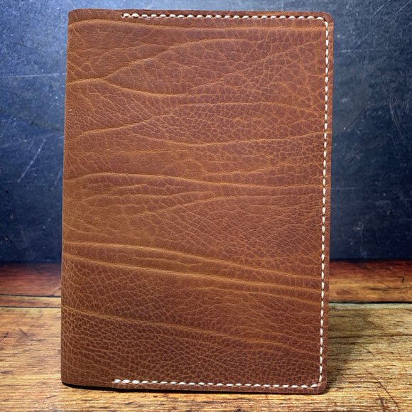 A5 Notebook Cover in Brown Elephant with Beige Thread