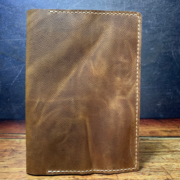 A5 Notebook Cover in Scott Grain with Beige Thread