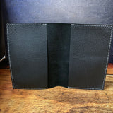 A5 Notebook Cover in Black Pebble with White Thread