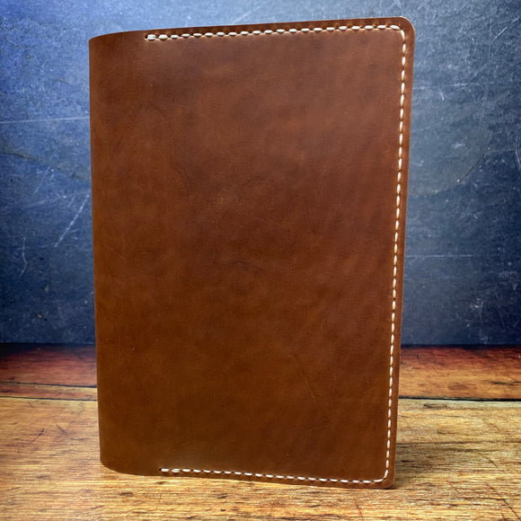 A5 Notebook Cover in Whiskey Oil Tan with Beige Thread