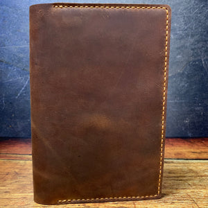 A5 Notebook Cover in Bootstrap Brown Oil Tan with Colonial Tan