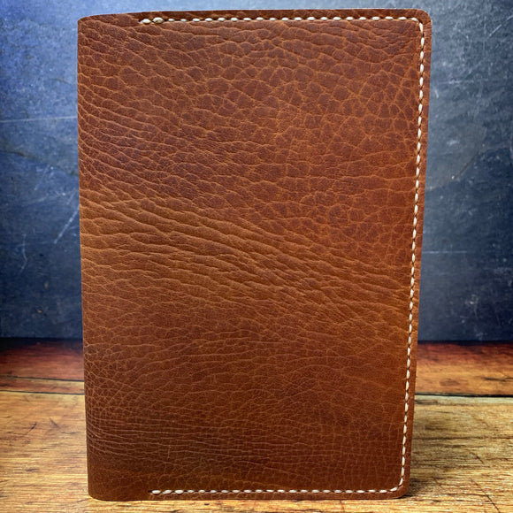 A5 Notebook Cover in Brown Elephant with White Thread