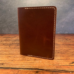 A6 Notebook Cover in Brown Ellis with Beige Thread