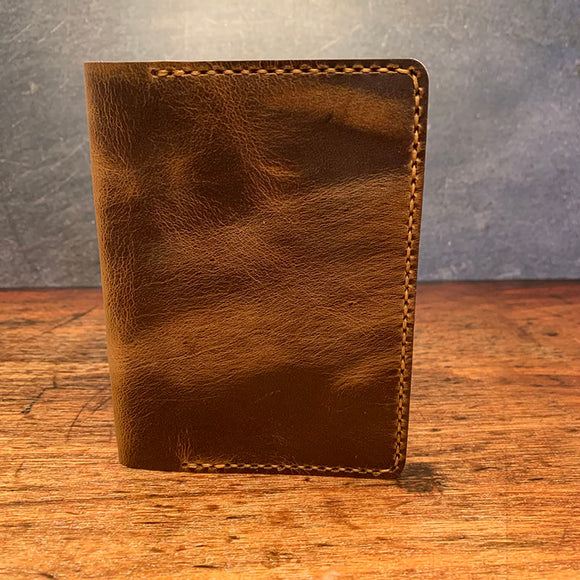A6 Notebook Cover in Broken Oak Crazyhorse with Colonial Tan Thread