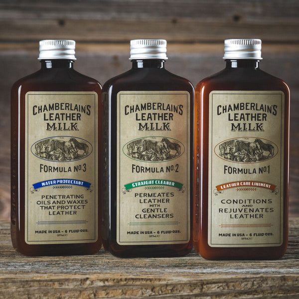 No. 1-3 Set: Leather Care Liniment, Straight Cleaner & Water Protectant (6oz)