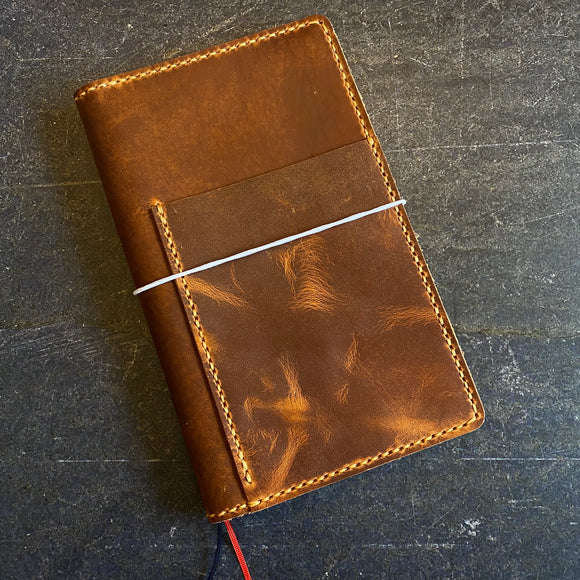 Custom A5 Slim Jibun Techo Folio in English Tan Dublin with Colonial Tan Thread