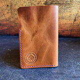 Index Card Holder in English Tan Dublin with Purple Thread