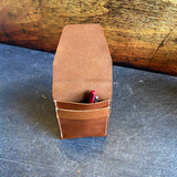 Pen Pouch in Q Tan Bridle Leather with Cream Thread