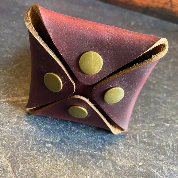Square Coin Pouch in Burgundy with Brassr Hardware