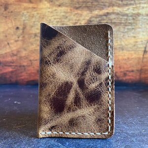 Leather Folded Card Wallet in Jungle Brown with Beige Thread