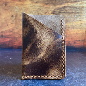Leather Folded Card Wallet in Jungle Brown with Amber Thread