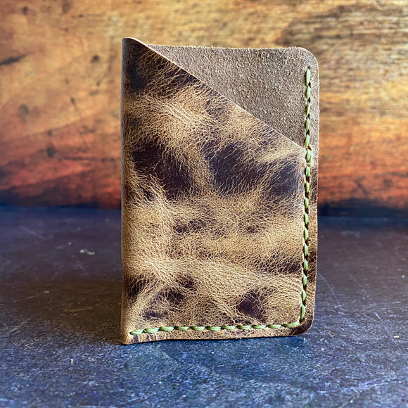 Leather Folded Card Wallet in Jungle Brown with Pea Green Thread