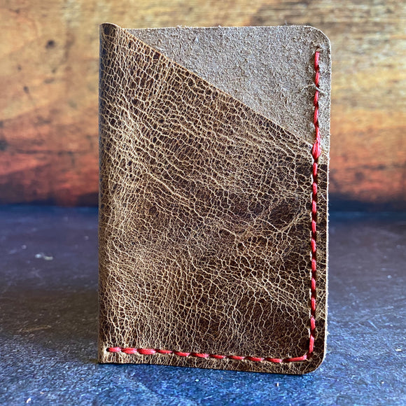Leather Folded Card Wallet in Jungle Brown with Red Thread