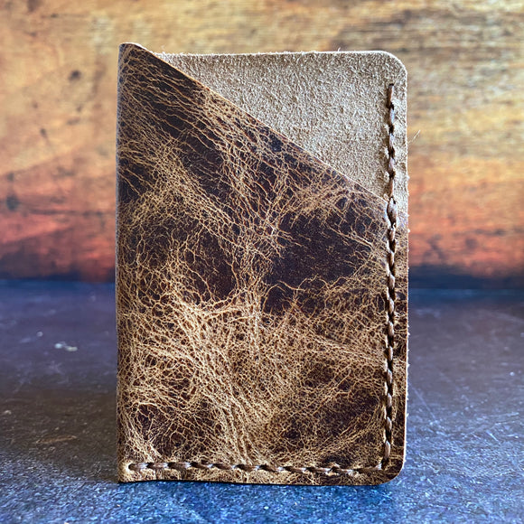 Leather Folded Card Wallet in Jungle Brown with Havana Cigar Thread