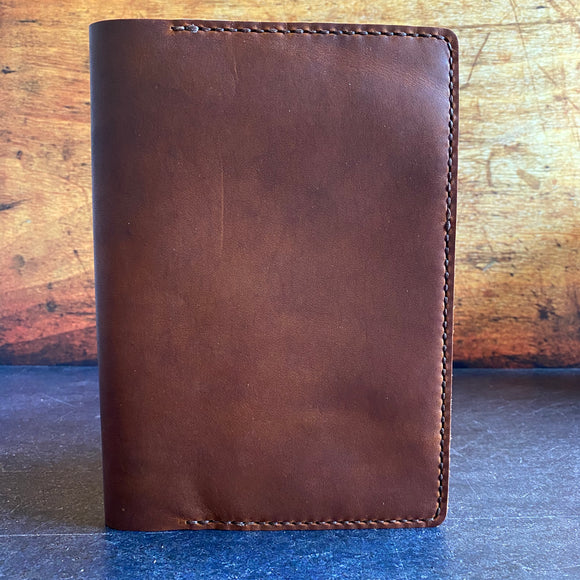 A5 Notebook Cover in Over-Oiled English Tan Dublin with Brown Thread