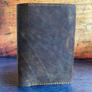 A5 Notebook Cover in Broken Oak Crazyhorse with Havana Cigar Thread