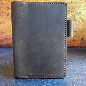A5 Notebook Cover in Sable Oil Tan with Black Thread