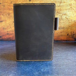 Custom A5 Notebook Cover in Mahogany Oil Tan with Colonial Tan Thread