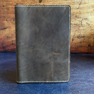 Full Focus Planner Cover in Broken Oak Crazyhorse with Cream Thread