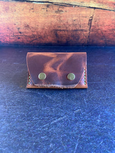 Leather Folded Snap Wallet in Autumn Harvest with Pea Green Thread