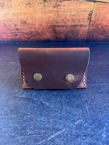 Leather Folded Snap Wallet in Autumn Harvest with Colonial Tan Thread