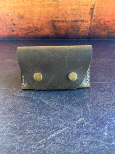 Leather Folded Snap Wallet in Slate with Silver Thread