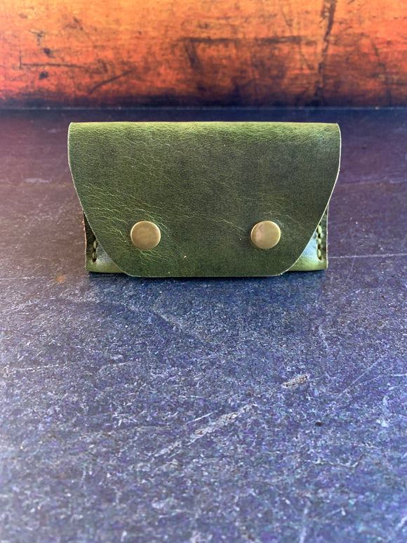 Leather Folded Snap Wallet in Electric Green Millennial with Pea Green Thread