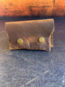 Leather Folded Snap Wallet in Bison with Mid Brown Thread