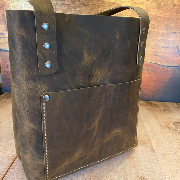 Small Tote Bag in Broken Oak Crazyhorse with a Broken Oak Crazyhorse Pocket